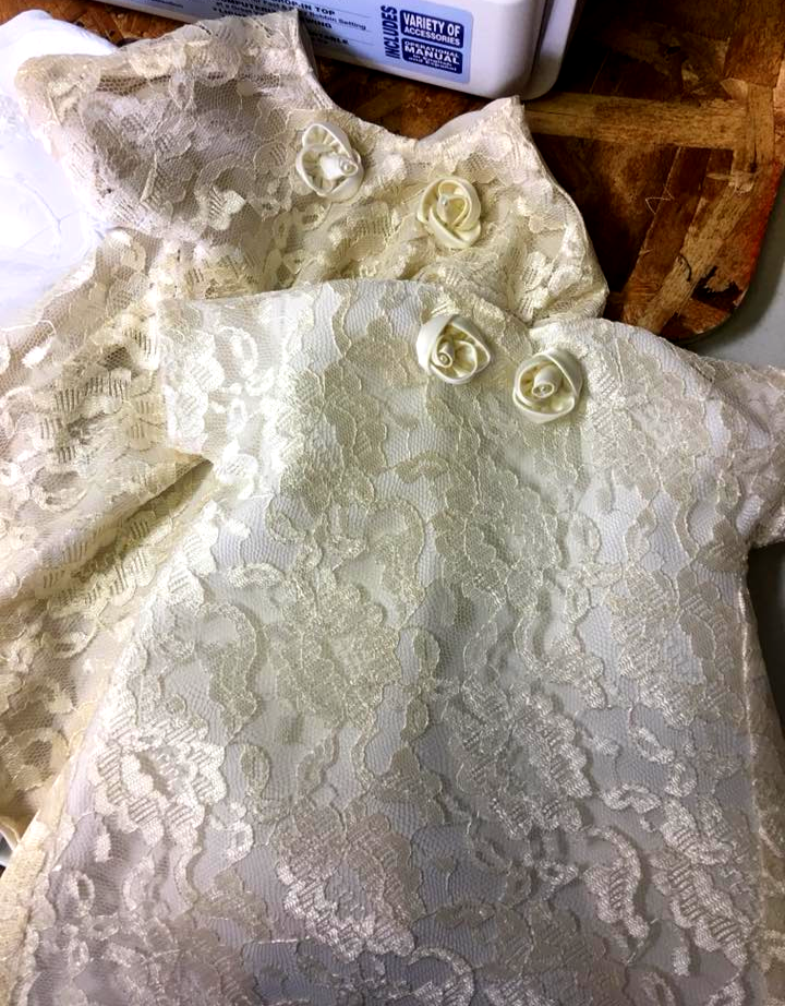 2 angel gowns made from wedding gown